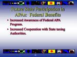 future state participation in apas federal benefits