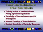 future state participation in apas state benefits