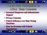 future state participation in apas state concerns
