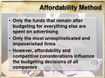affordability method