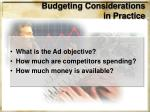 budgeting considerations in practice