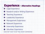 experience alternative headings
