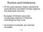 rumors and intolerance