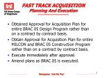 fast track acquisition planning and execution
