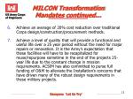 milcon transformation mandates continued