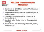 milcon transformation mandates