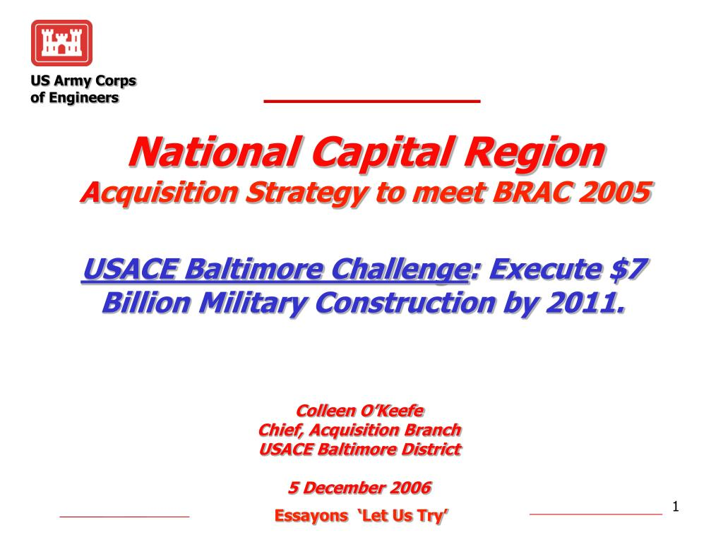 national capital region a cquisition strategy to meet brac 2005 l.