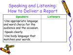 speaking and listening how to deliver a report132