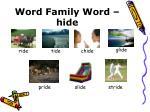 word family word hide