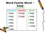 word family word keep online dictionary