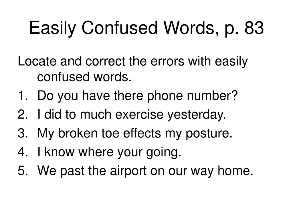 Easily Confused Words, p. 83