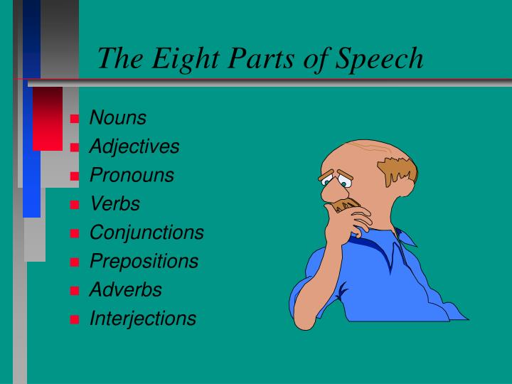 learning the eight parts of speech Students have a good understanding of parts of speech if they correctly respond to at least eight statements in the activity below seven correct responses or fewer indicate that a student might need additional reinforcement.