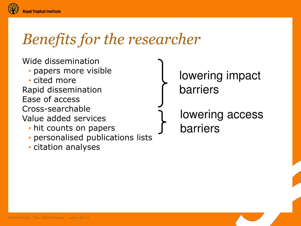 Benefits for the researcher