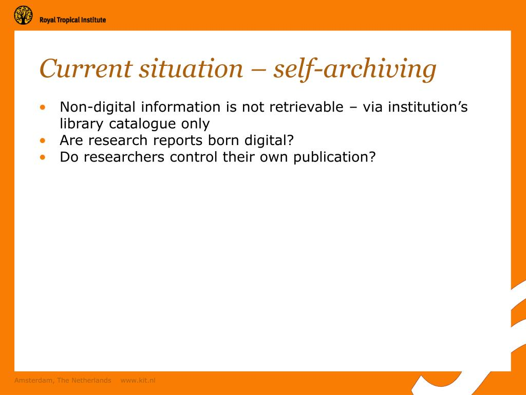 Current situation – self-archiving