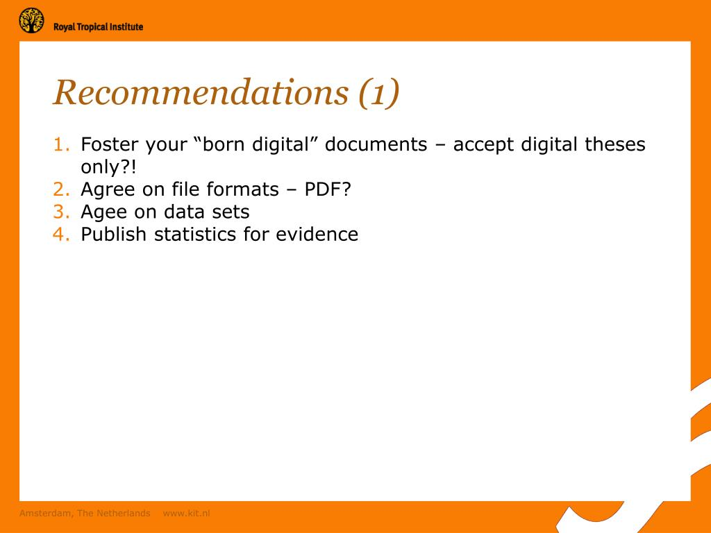 Recommendations (1)