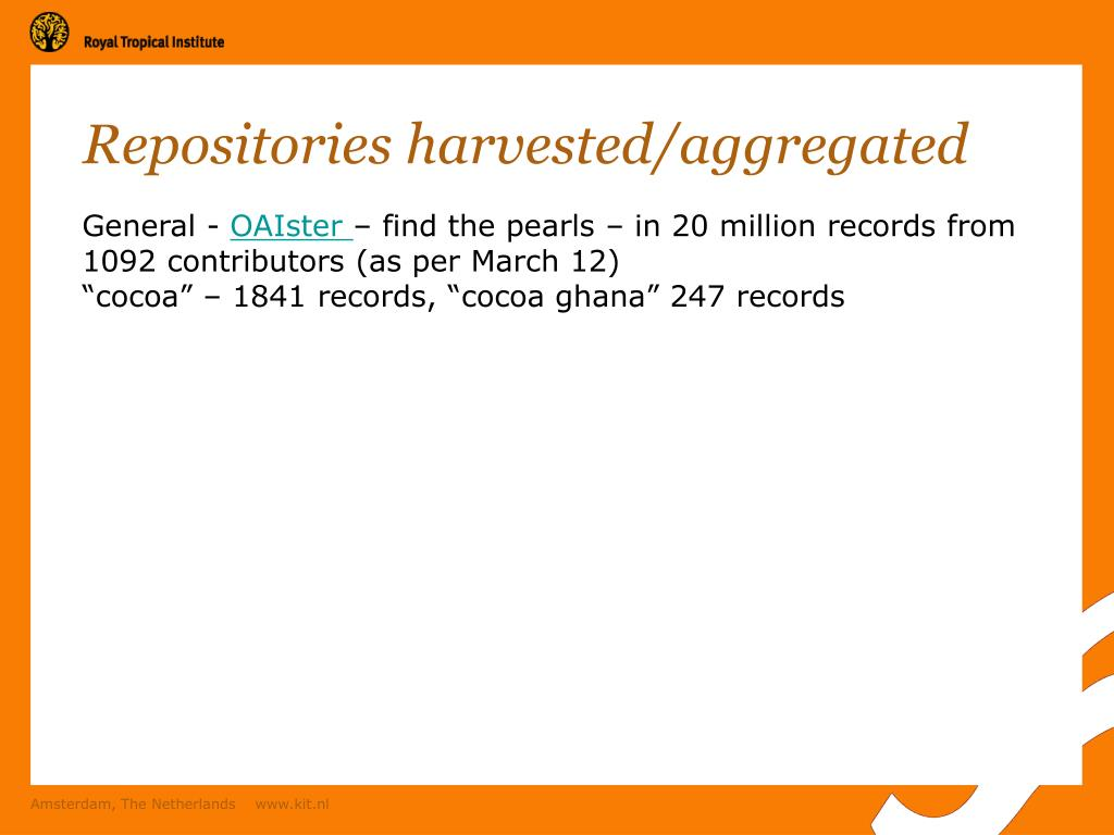 Repositories harvested/aggregated