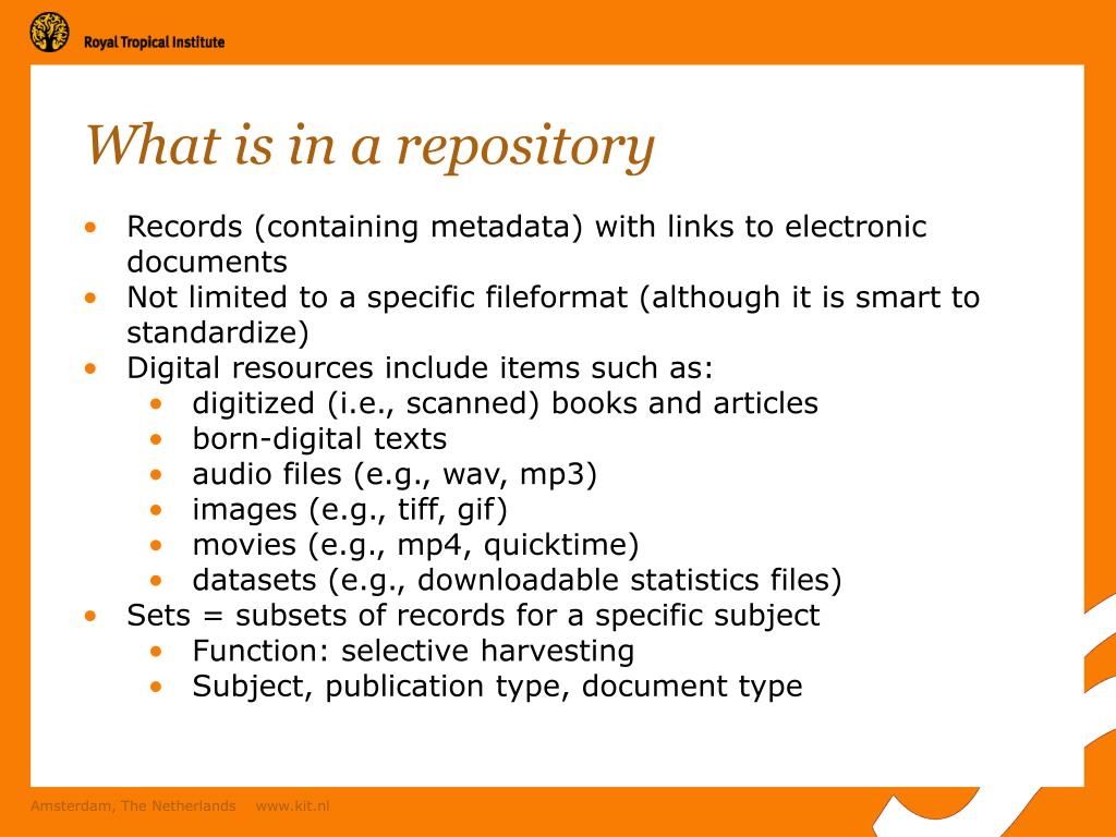 What is in a repository