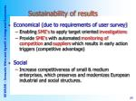 sustainability of results