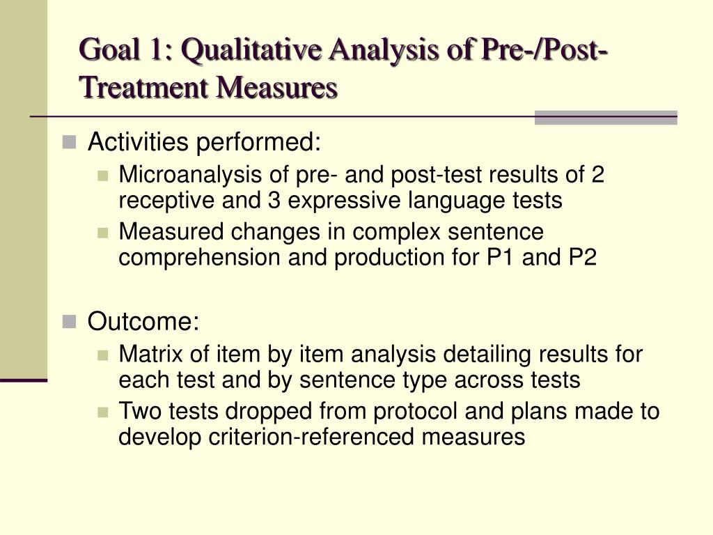 Goal 1: Qualitative Analysis of Pre-/Post-Treatment Measures