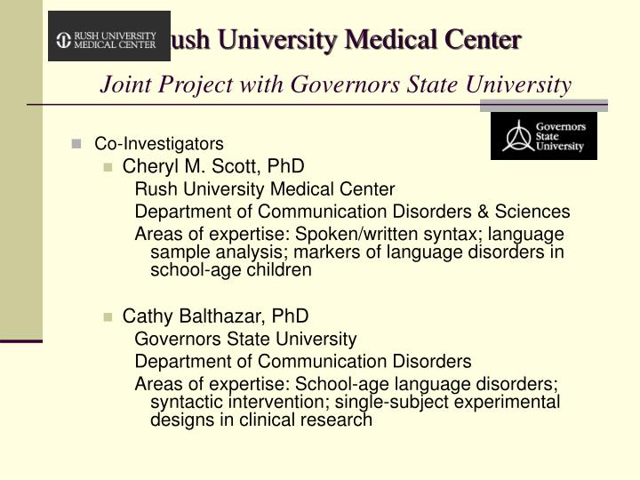 Rush university medical center joint project with governors state university