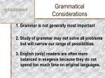 grammatical considerations