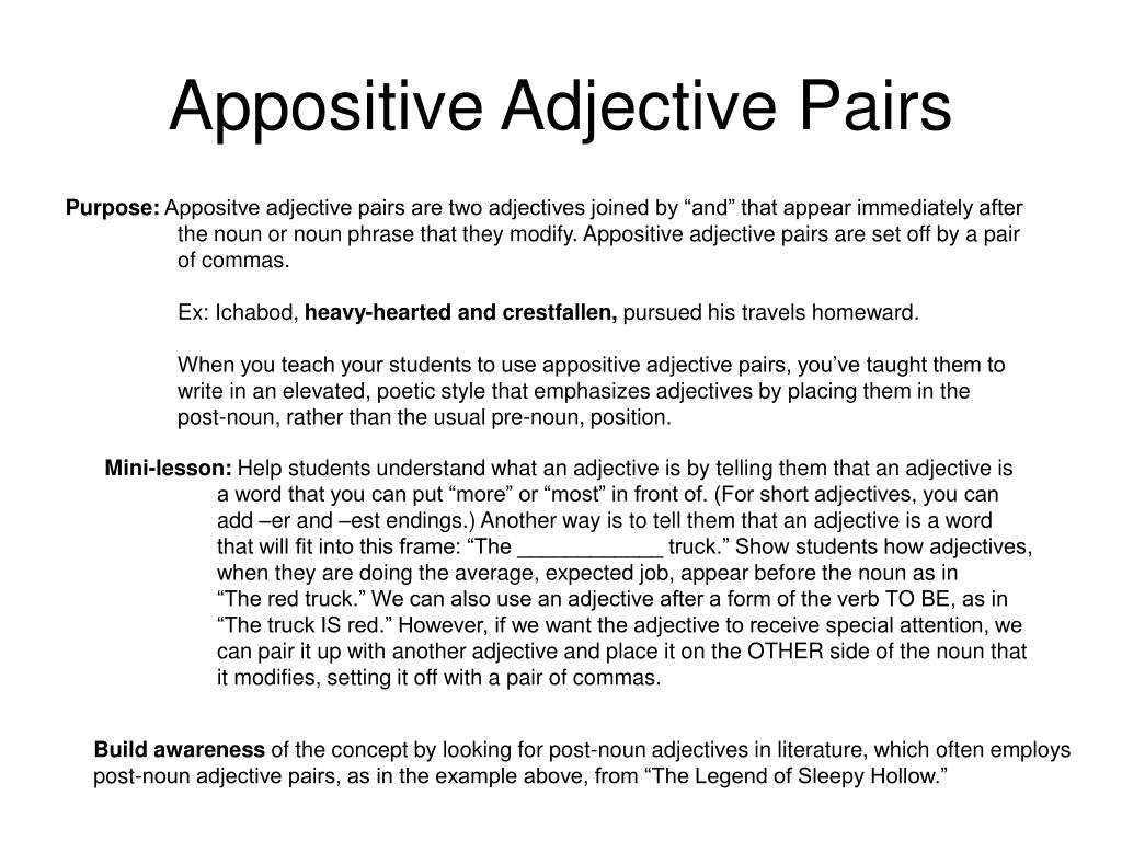 Appositive Adjective Pairs
