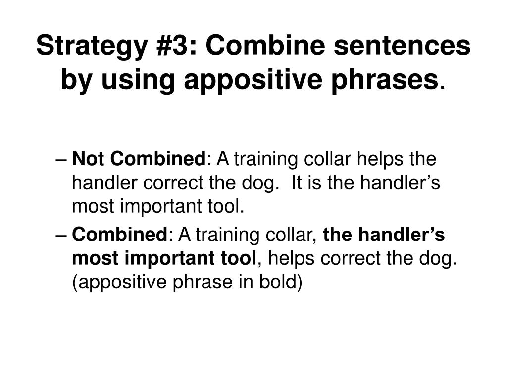 Strategy #3: Combine sentences by using appositive phrases