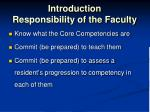 introduction responsibility of the faculty
