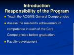 introduction responsibility of the program