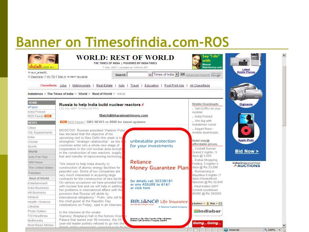 Banner on Timesofindia.com-ROS