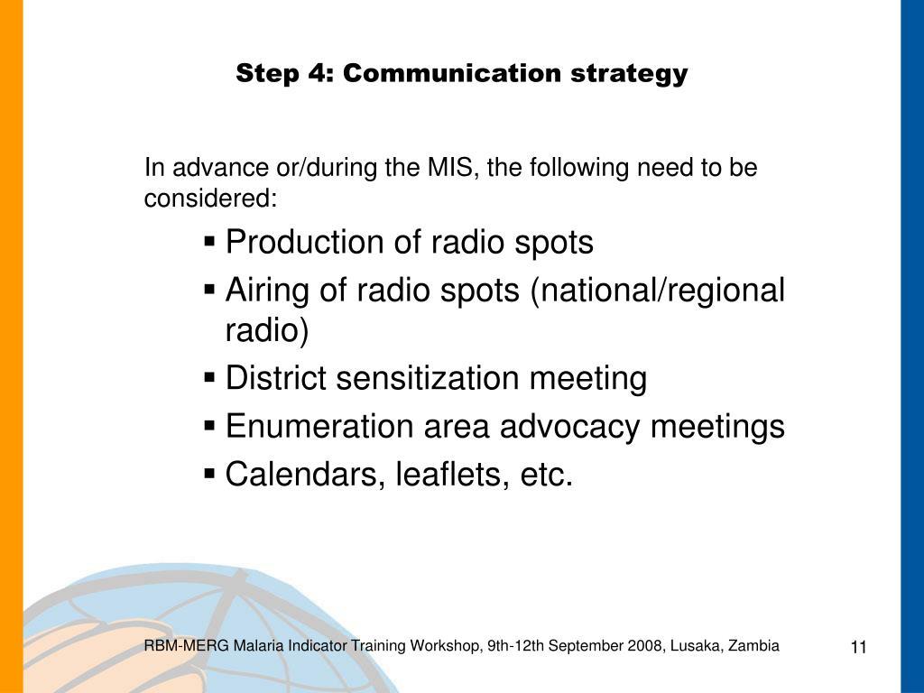 Step 4: Communication strategy