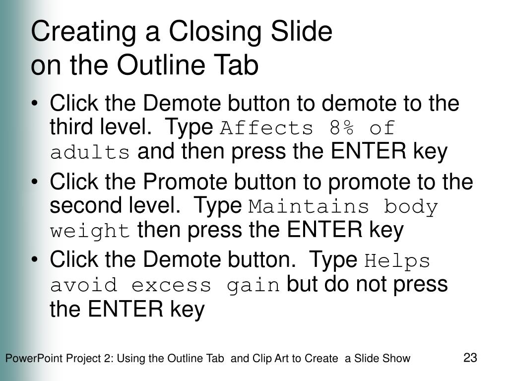Creating a Closing Slide