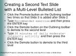 creating a second text slide with a multi level bulleted list