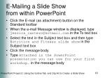 e mailing a slide show from within powerpoint