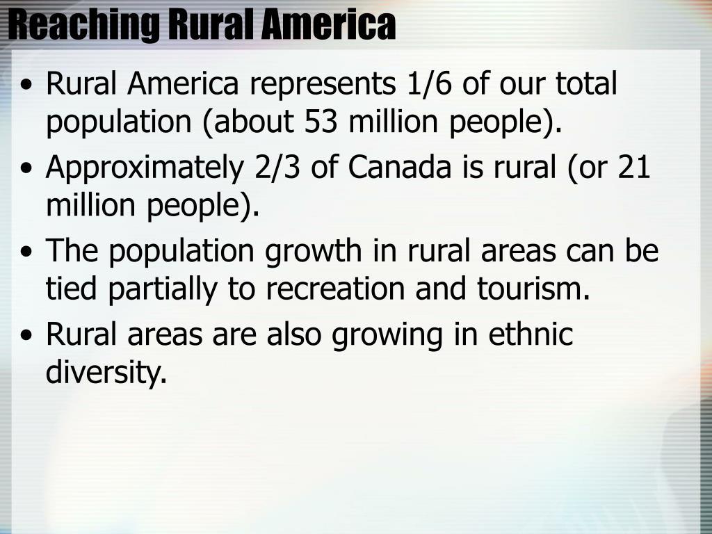 Reaching Rural America