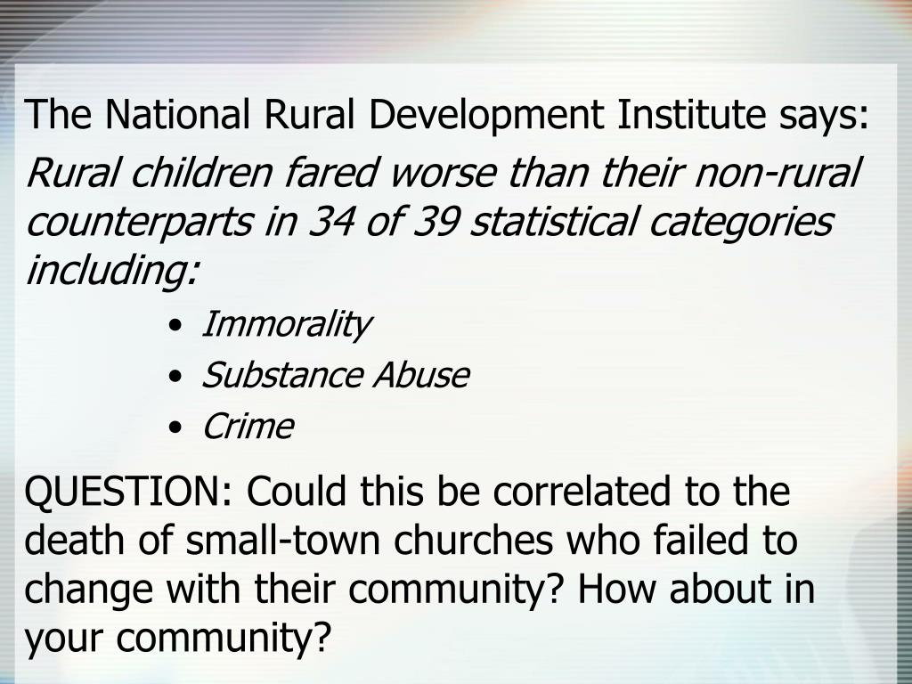 The National Rural Development Institute says: