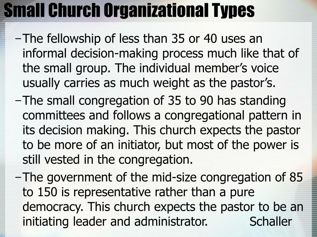 Small Church Organizational Types
