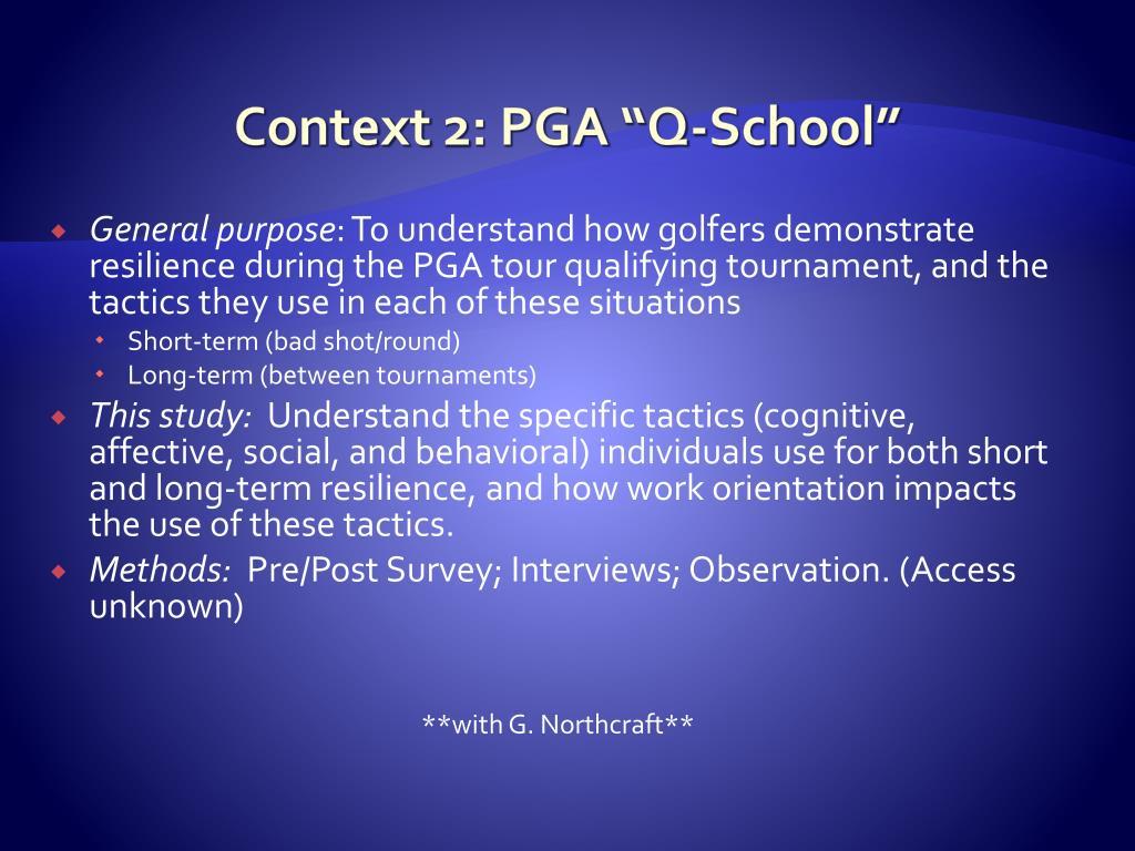 """Context 2: PGA """"Q-School"""""""
