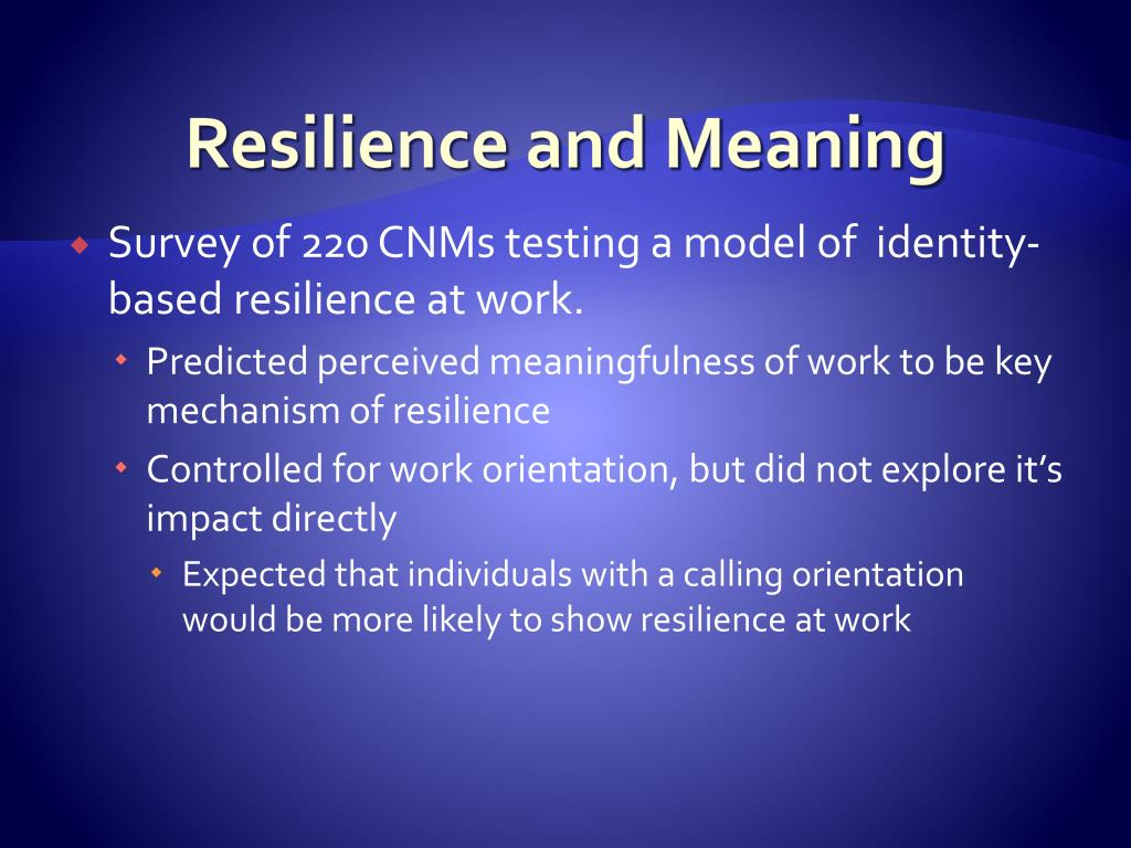 Resilience and Meaning