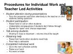 procedures for individual work and teacher led activities