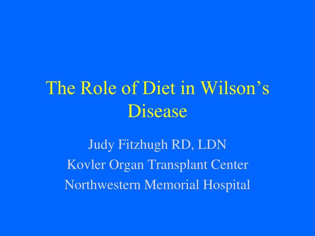 the role of diet in wilson s disease l.