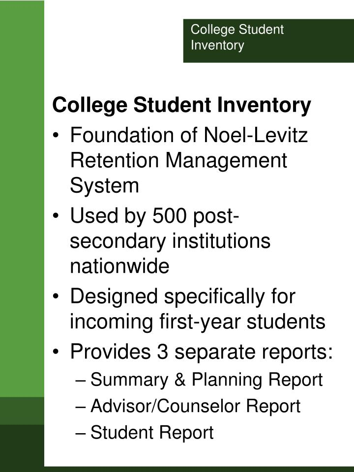 College student inventory