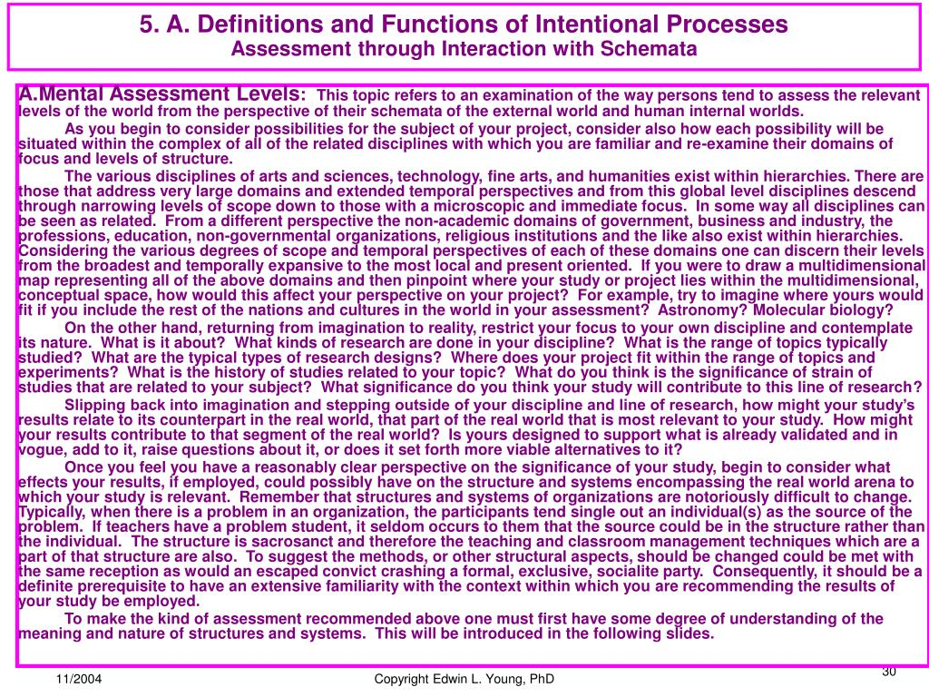 5. A. Definitions and Functions of Intentional Processes