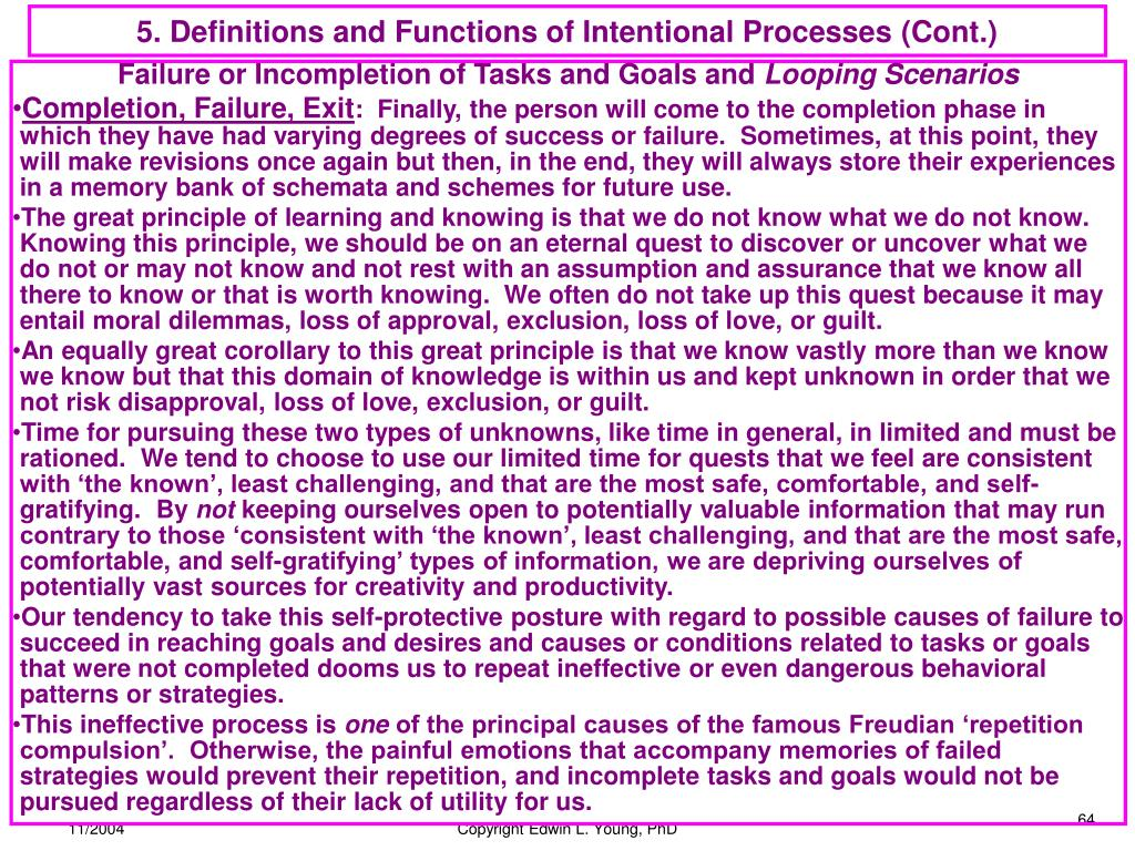 5. Definitions and Functions of Intentional Processes (Cont.)