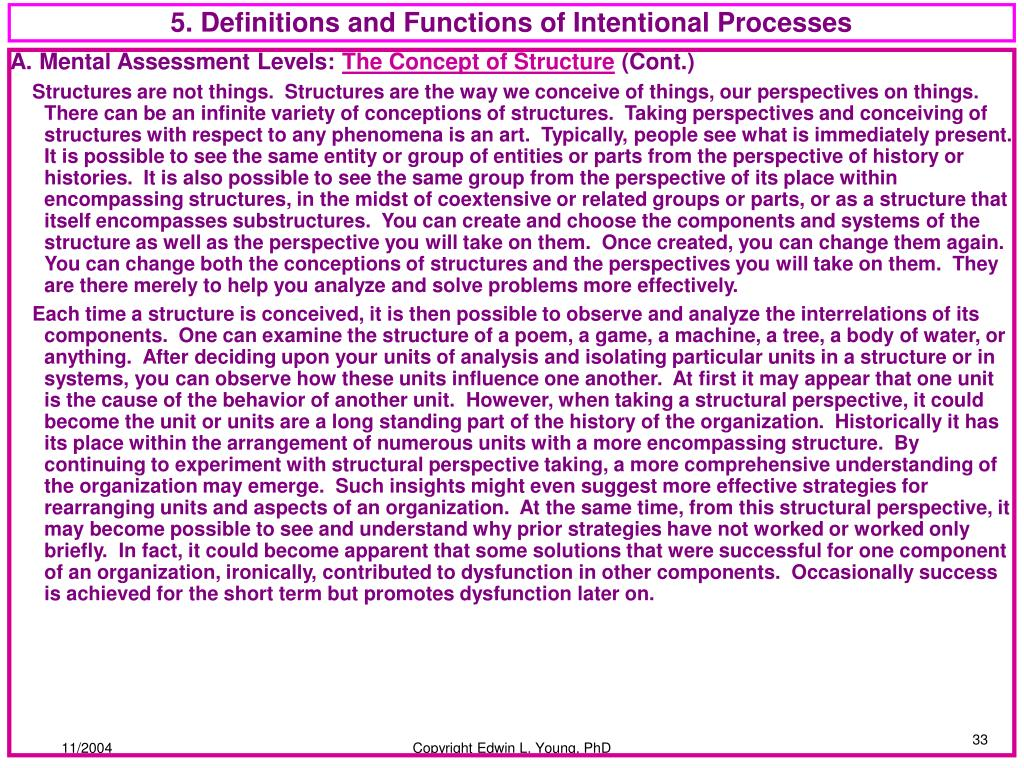 5. Definitions and Functions of Intentional Processes