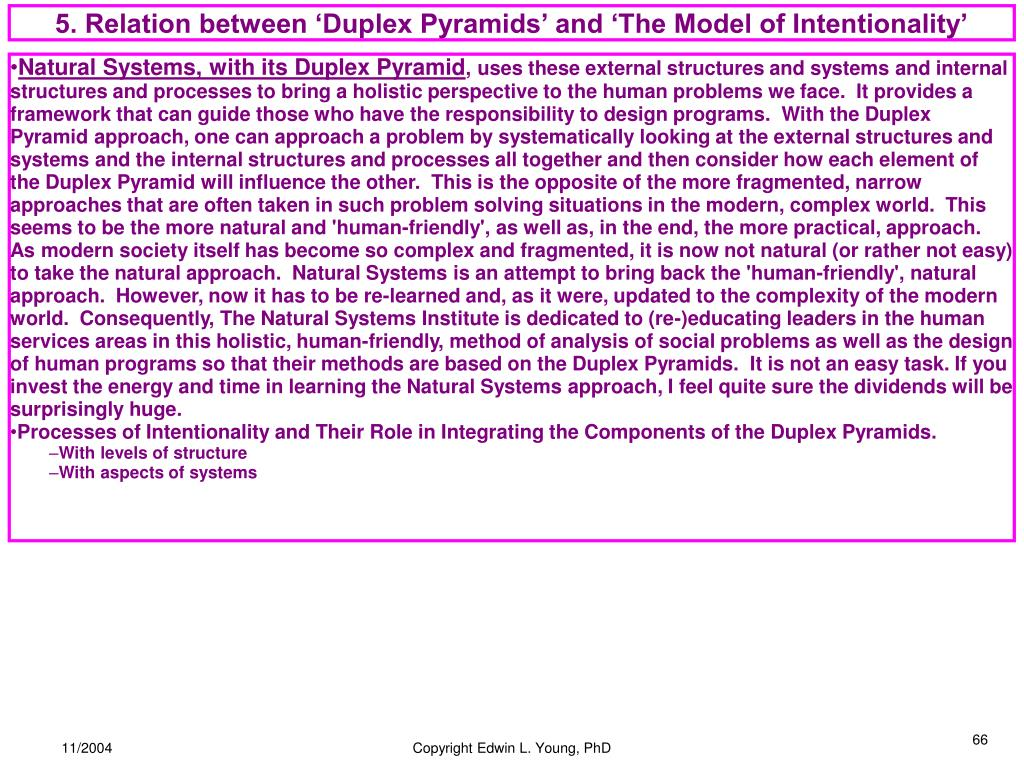 5. Relation between 'Duplex Pyramids' and 'The Model of Intentionality'