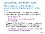 conclusion s and further work