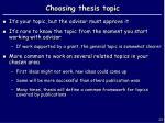 choosing thesis topic