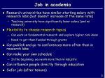 job in academia