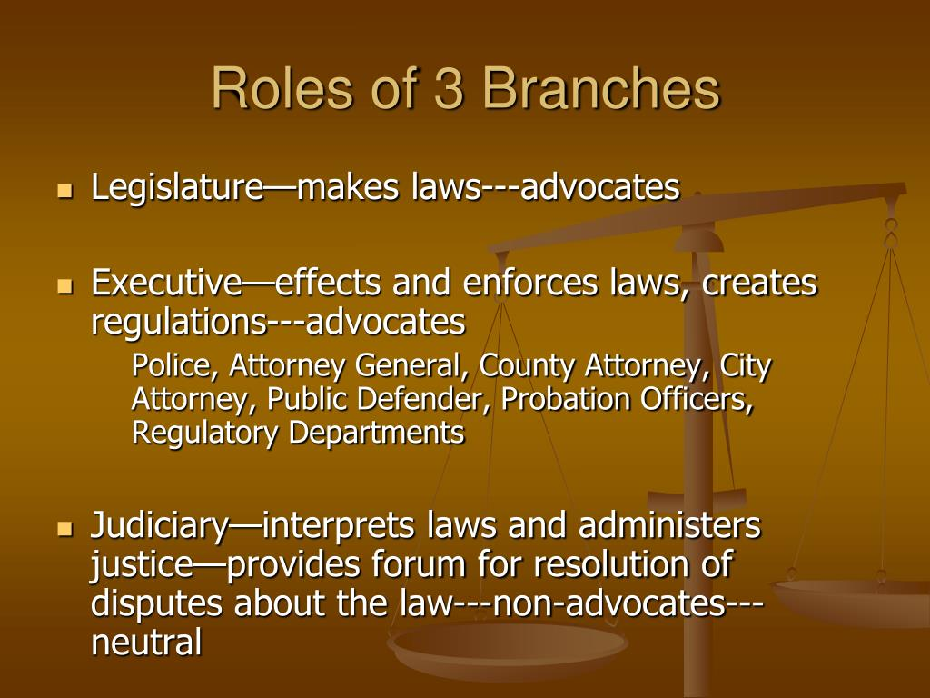 Roles of 3 Branches